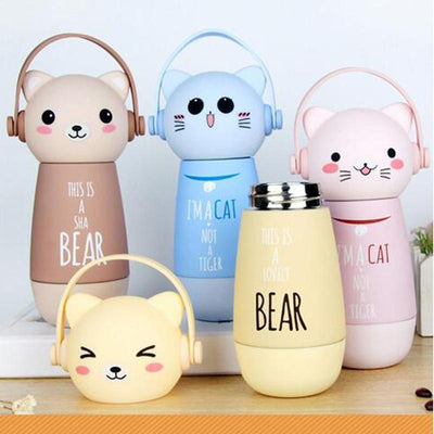 Kawaii Animal Head Stainless Steel Thermal Vacuum Bottle [3 Styles] #JU2169-Juku Store