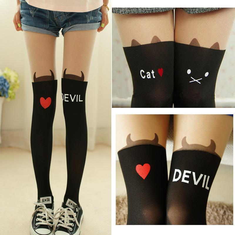 Kawaii Animal Knee High Pantyhose Black [4 Styles] #JU2157-Juku Store