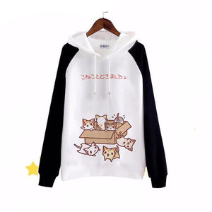 Kawaii Anime Mori Cat Hoodie Sweatshirt [2 Colors] #JU1866-Black-S-Juku Store