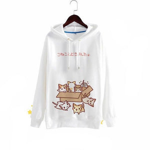 Kawaii Anime Mori Cat Hoodie Sweatshirt [2 Colors] #JU1866-White-S-Juku Store