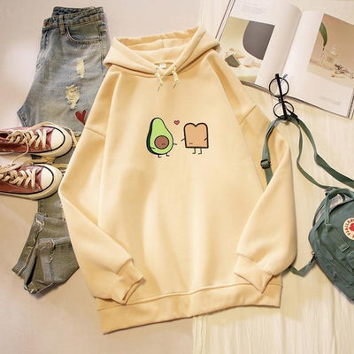 Kawaii Avocado and Bread Cartoon Hoodie Pastel Sweatshirt #JU2658-Apricot-L-Juku Store