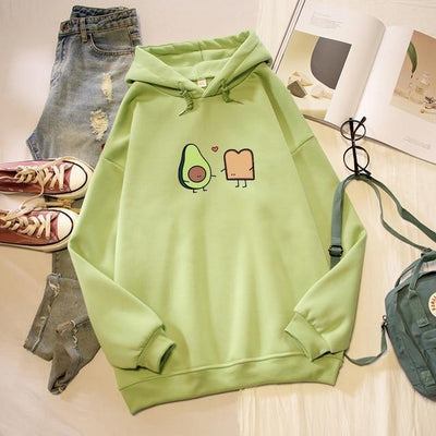 Kawaii Avocado and Bread Cartoon Hoodie Pastel Sweatshirt #JU2658-Green-XXL-Juku Store