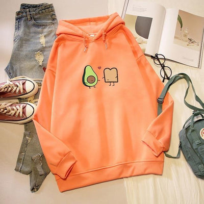 Kawaii Avocado and Bread Cartoon Hoodie Pastel Sweatshirt #JU2658-Orange-XXXL-Juku Store
