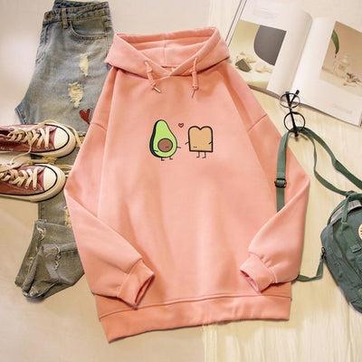 Kawaii Avocado and Bread Cartoon Hoodie Pastel Sweatshirt #JU2658-Pink-M-Juku Store