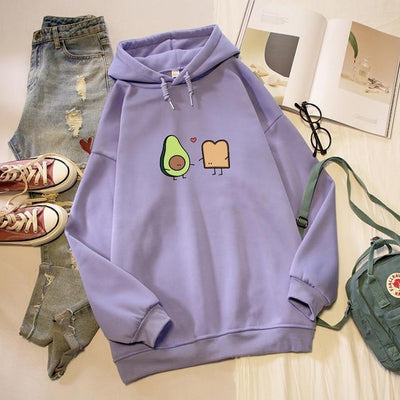 Kawaii Avocado and Bread Cartoon Hoodie Pastel Sweatshirt #JU2658-Purple-4XL-Juku Store