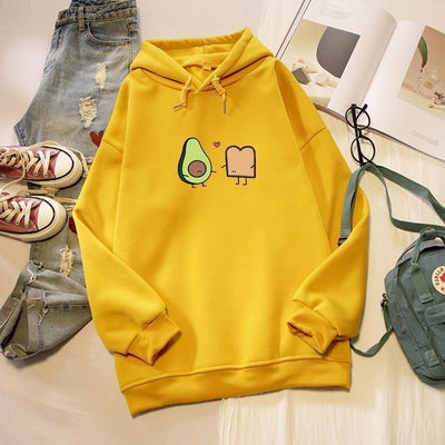Kawaii Avocado and Bread Cartoon Hoodie Pastel Sweatshirt #JU2658-Yellow-XXL-Juku Store