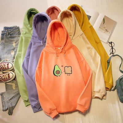 Kawaii Avocado and Bread Cartoon Hoodie Pastel Sweatshirt #JU2658-Juku Store