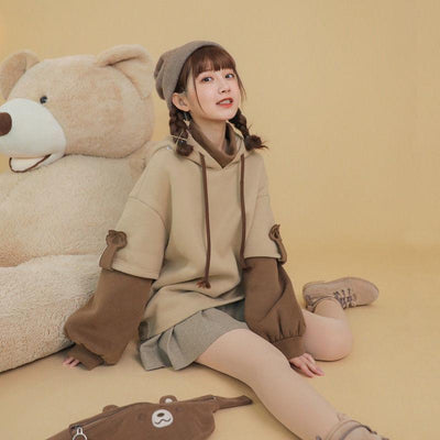 Kawaii Belt Bag Bear Hoodie Harajuku Oversized Sweater #JU2919-Juku Store
