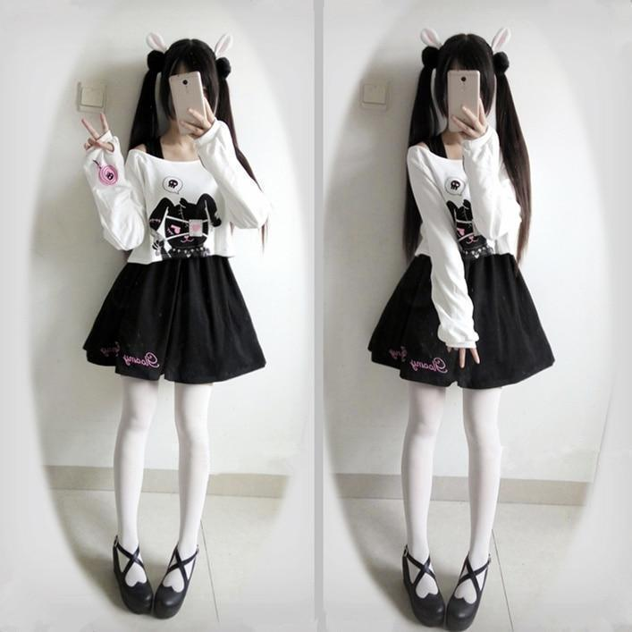 Kawaii Black Rabbit Dress Gloomy Bunny 2 Pc Set Harajuku Style #JU2051-M-Juku Store