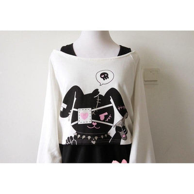 Kawaii Black Rabbit Dress Gloomy Bunny 2 Pc Set Harajuku Style #JU2051-Juku Store