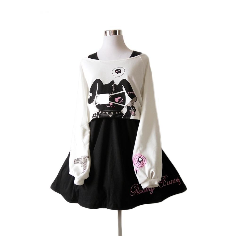 Kawaii Black Rabbit Dress Gloomy Bunny 2 Pc Set Harajuku Style #JU2051