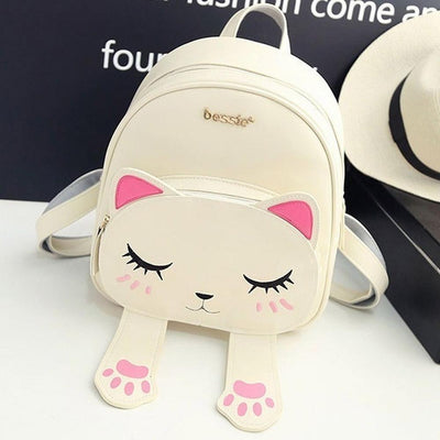 Kawaii Cat Designer Backpack w/ Magnetic Paws [3 Colors] #JU1799-Beige-Juku Store