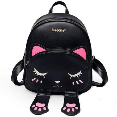 Kawaii Cat Designer Backpack w/ Magnetic Paws [3 Colors] #JU1799-Black-Juku Store