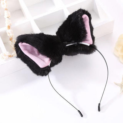 Kawaii Cat Ears Headband / Fox Ears Hair Accessory [8 Colors] #JU2163-Black & Pink-Juku Store