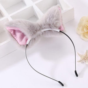 Kawaii Cat Ears Headband / Fox Ears Hair Accessory [8 Colors] #JU2163-Gray-Juku Store