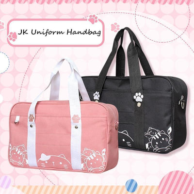 Kawaii Cat Print JK School Shoulder Bag [2 Colors] #JU2386-Juku Store