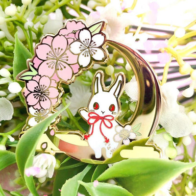 Kawaii Cherry Blossoms Bunny Pin Clip Pastel Cartoon Brooch #JU3021-Juku Store