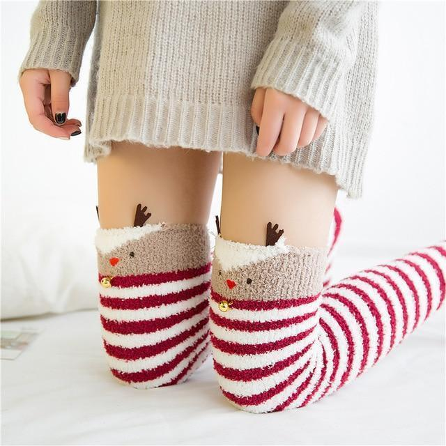 Kawaii Christmas Warm Fuzzy Stockings Thigh High Socks [2 Styles] #JU2059-Reindeer-Juku Store