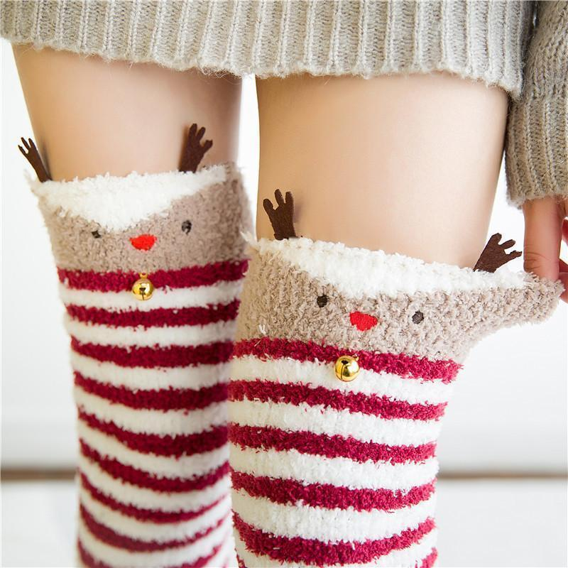 Kawaii Christmas Warm Fuzzy Stockings Thigh High Socks [2 Styles] #JU2059-Reindeer-One Size-Juku Store