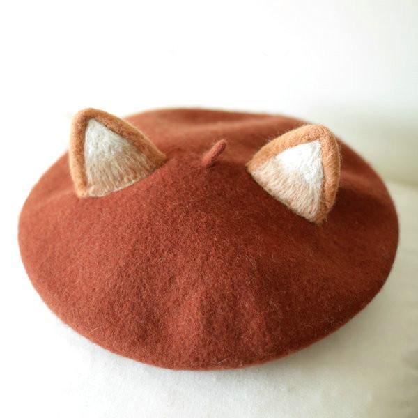 Kawaii Fox Ear Beret Lolita Princess Hat [4 Colors] #JU2053-Brown-Juku Store