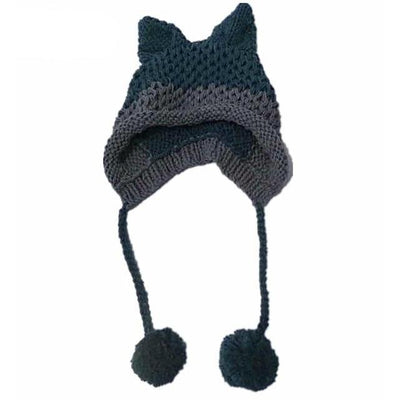 Kawaii Fox Ears Beanie Knitted Winter Hat #JU3070-Navy Blue Gray-Juku Store