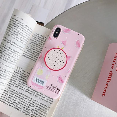 Kawaii Fruit iPhone Case and Ring Holder #JU2484-Dragon Fruit-For iPhone 11Pro Max-Juku Store