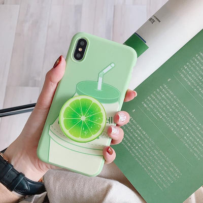 Kawaii Fruit iPhone Case and Ring Holder #JU2484-Lime-For iPhone 11Pro Max-Juku Store