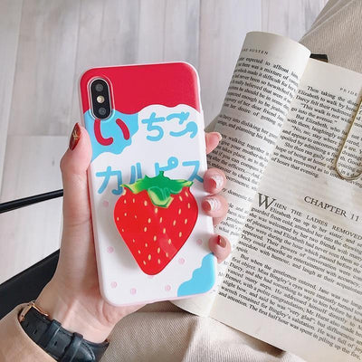 Kawaii Fruit iPhone Case and Ring Holder #JU2484-Strawberry-For iPhone 11Pro Max-Juku Store