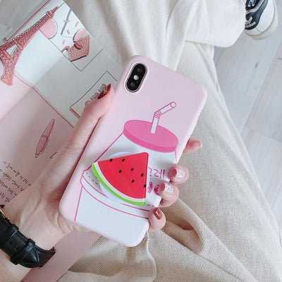 Kawaii Fruit iPhone Case and Ring Holder #JU2484-Watermelon-For iPhone 11Pro Max-Juku Store