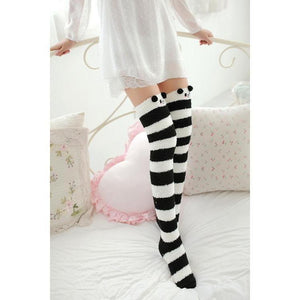 Kawaii Fuzzy Thigh High Animal Stockings Microfiber Socks [6 Variations] #JU1834-Juku Store