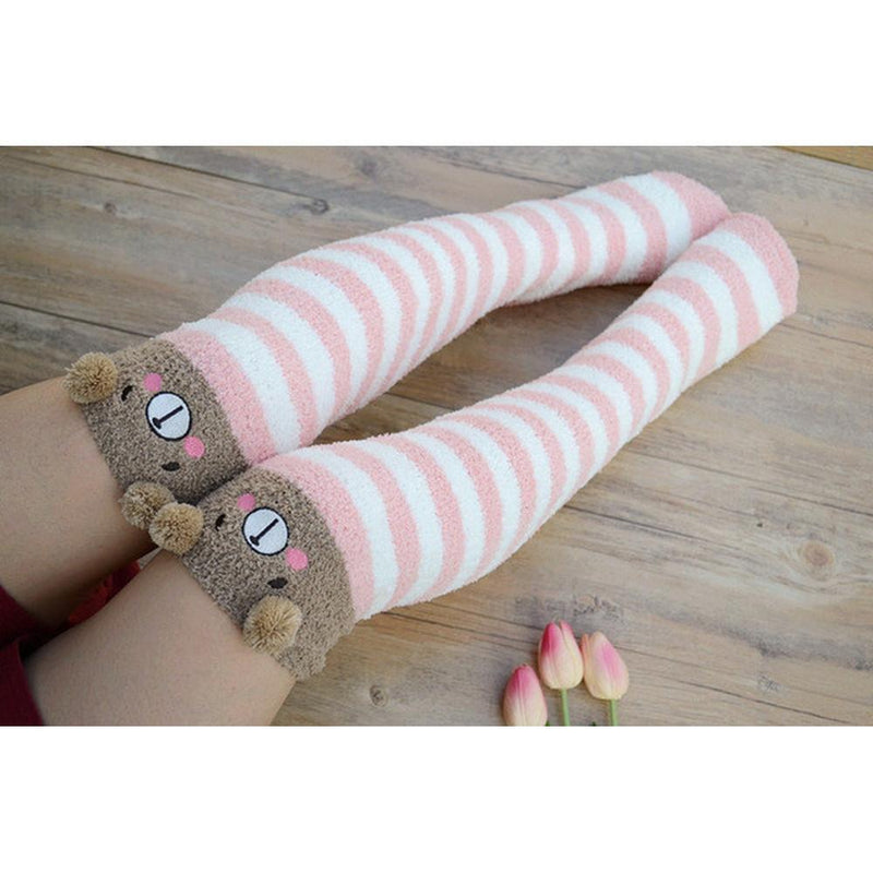 Kawaii Fuzzy Thigh High Animal Stockings Microfiber Socks [6 Variations] #JU1834
