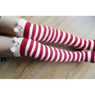 Kawaii Fuzzy Thigh High Animal Stockings Microfiber Socks [6 Variations] #JU1834-Red Piggy-One Size-Juku Store