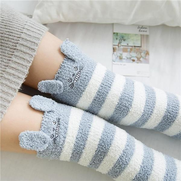 Kawaii Fuzzy Totoro Stockings Thigh High Socks #JU2058-Juku Store