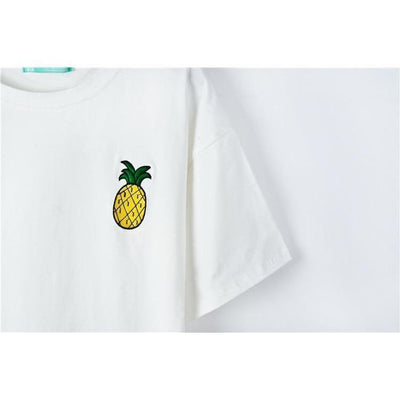 Kawaii Harajuku Style Fruit Embroidered Loose Summer T-Shirt [4 Colors] #JU2258-Juku Store