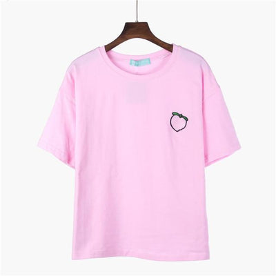 Kawaii Harajuku Style Fruit Embroidered Loose Summer T-Shirt [4 Colors] #JU2258-Pink-One Size-Juku Store