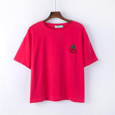 Kawaii Harajuku Style Fruit Embroidered Loose Summer T-Shirt [4 Colors] #JU2258-Red-One Size-Juku Store