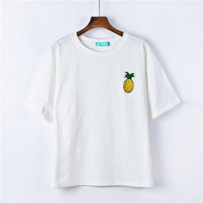 Kawaii Harajuku Style Fruit Embroidered Loose Summer T-Shirt [4 Colors] #JU2258-White-One Size-Juku Store