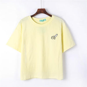 Kawaii Harajuku Style Fruit Embroidered Loose Summer T-Shirt [4 Colors] #JU2258-Yellow-One Size-Juku Store