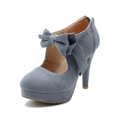 Kawaii Harajuku Style High Heels Bow Shoes [6 Colors] #JU1971-Gray-11-Juku Store