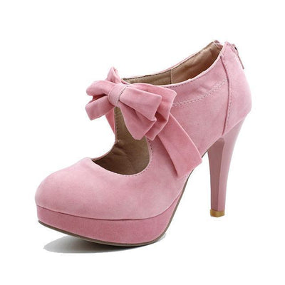 Kawaii Harajuku Style High Heels Bow Shoes [6 Colors] #JU1971-Pink-11-Juku Store