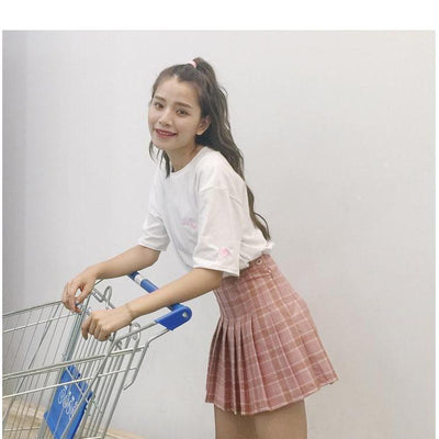 Kawaii Harajuku Style High Waist Plaid Mini Skirt [3 Colors] #JU2049-Juku Store