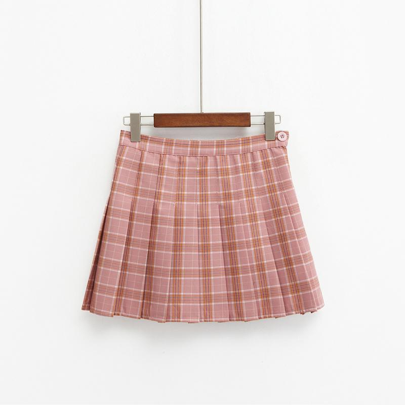 Kawaii Harajuku Style High Waist Plaid Mini Skirt [3 Colors] #JU2049-Pink-S-Juku Store