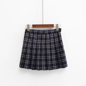 Kawaii Harajuku Style High Waist Plaid Mini Skirt [3 Colors] #JU2049-Royal Blue-S-Juku Store
