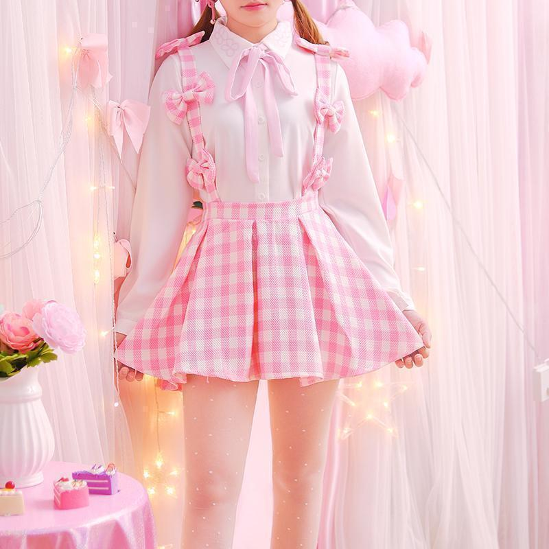 Kawaii Harajuku Style Pink Plaid Suspender Mini Skirt #JU2014-One Size-Juku Store