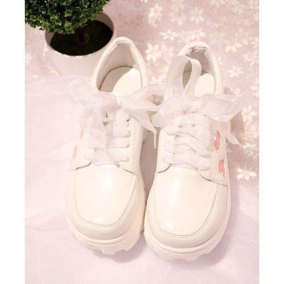Kawaii Heart Printed Wedge Sneakers #JU2253-Juku Store