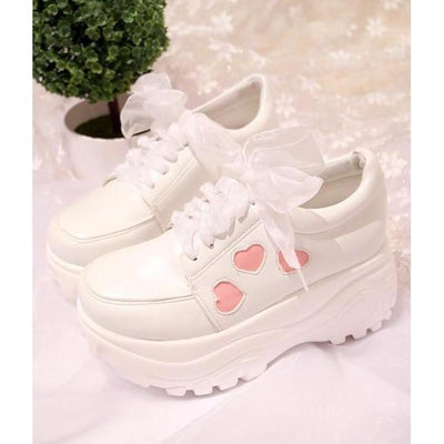 Kawaii Heart Printed Wedge Sneakers #JU2253-4-Juku Store