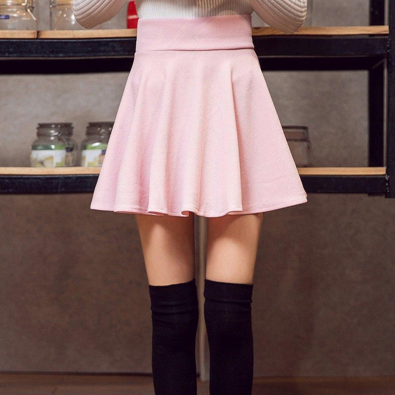 Kawaii High Waist Casual Pleated Mini Skirt [9 Colors] #JU2262-Red-5XL-Juku Store