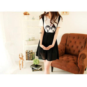 Kawaii High Waist Suspender Skirt [5 Colors] #JU1966-Juku Store