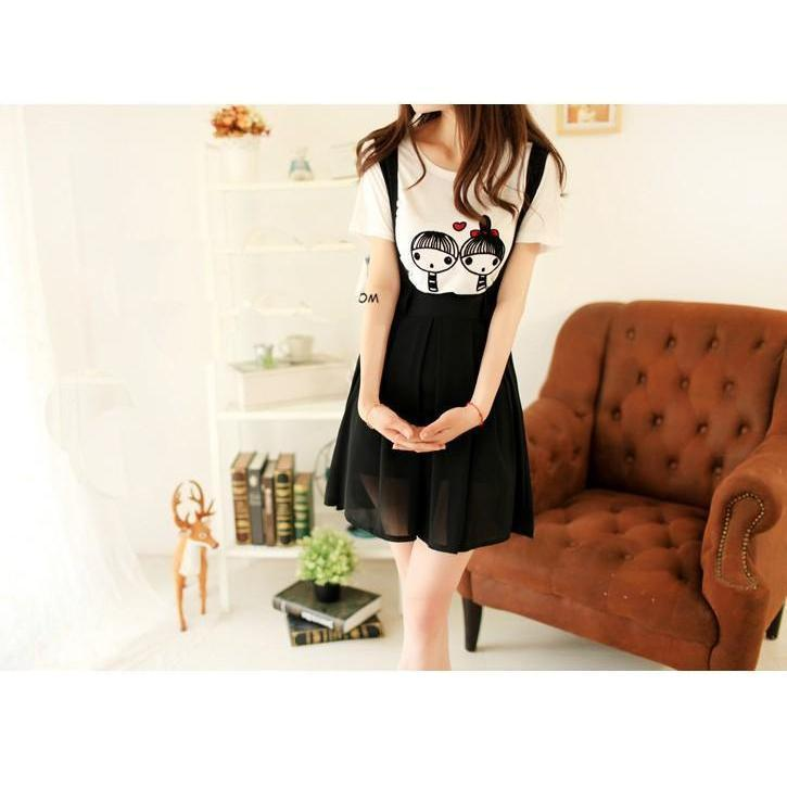 Kawaii High Waist Suspender Skirt [5 Colors] #JU1966-Black-S-Juku Store