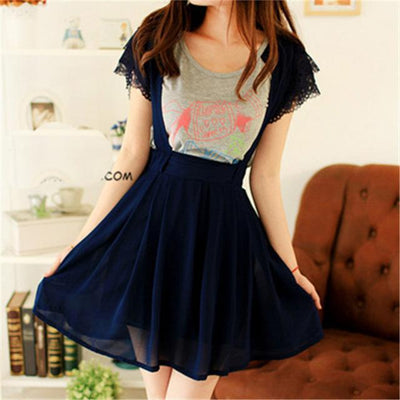Kawaii High Waist Suspender Skirt [5 Colors] #JU1966-Navy Blue-S-Juku Store